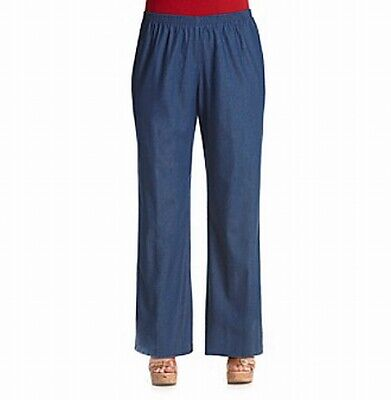 Alfred Dunner Women's Blue Size 18W Plus Denim Pull On Pants Stretch $29 #437