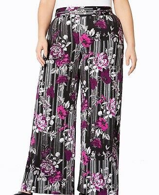 NY Collection Womens Pants Purple Size 1X Plus Wide-Leg Floral Stretch $54 289