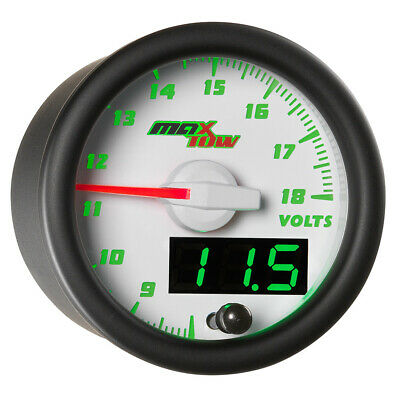 52mm White MaxTow Volt Voltage Gauge Meter w Green Digital + Analog Readouts