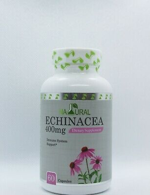Natural ECHINACEA IMMUNE SYSTEM COLD INFLAMMATION SUPPORT 500mg, 60Caps .