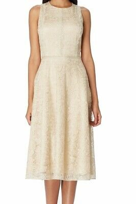 Tahari by ASL Womens Dress Gold 10 Metallic Paisley Lace Fit & Flare $209 434