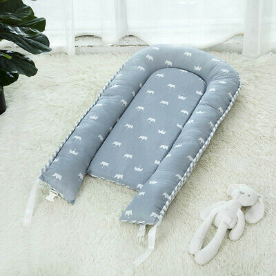Travel Baby Lounger Soft Newborn Infant Baby Bed Portable Pillow Crown_Blue