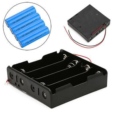 5Pcs 18650 Rechargeable Battery 3.7V Clip Holder Box Case With Wire Lead