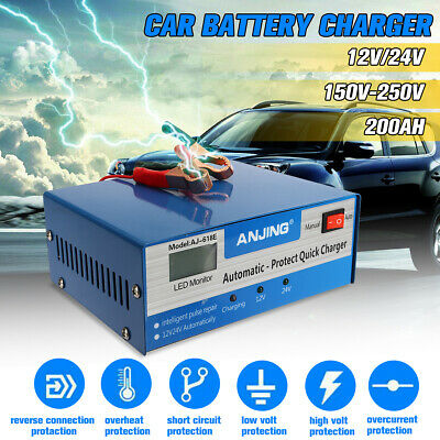 Auto Car Battery Charger 12/24V 200AH Intelligent Pulse Repair Lead Acid Battery