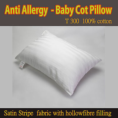 Cot Bed Pillow T300 100% Cotton Junior, Baby,Kids,Toddler Comfort FILLED Pillow