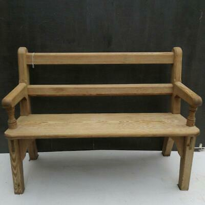 Small Antique Pine Church Pew Bench