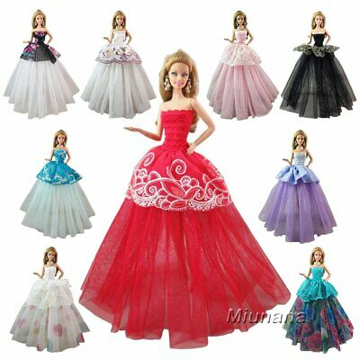7 Pcs Handmade Fashion Wedding Party Gown Dresses Clothes for Barbie Doll Cute