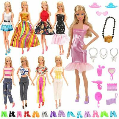 NEW 15 Pcs Fashion Casual Wear Clothes Outfit Shoes For Barbie Doll Gift Random
