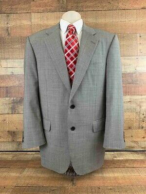 Samuelsohn Mens Suit Jacket Gray Two Button Houndstooth Business Blazer 44
