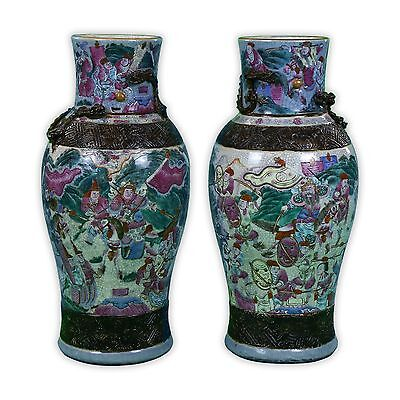 Pair Big Chinese Antique Famille Rose Ge Glazed Porcelain Vases