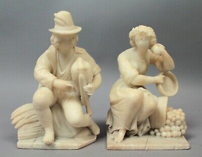 Superb Pair Antique 19c Carved Stone Bookends Harvester Peasant Man & Woman