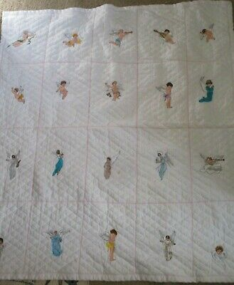 Baby Quilt Blanket Embroidered Angels  40x36