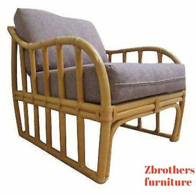 Vintage Ficks Reed Bamboo Rattan Living Room Lounge Chair