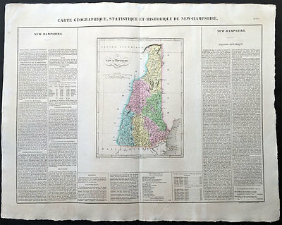 1825 Buchon - Carey, Lea - Large Antique Map State New Hampshire, North America
