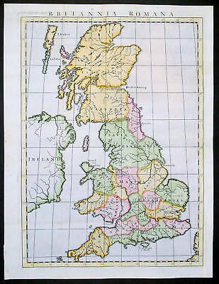 1745 Tindal Antique Map of Roman Great Britain