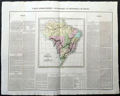1825 Buchon - Carey, Lea - Large Antique Map of Brazil, South America