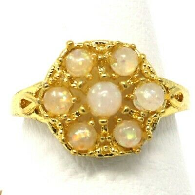 Details about  /7 Ct Orange Opal Statement Crystal Ring Gift 14K White Gold Plated Size 6 7 8 9