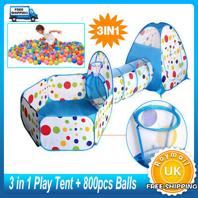 3 IN 1 Childrens Kids Baby Play Tent Tunnel Ball Pit Playhouse FREE 800PCS Balls