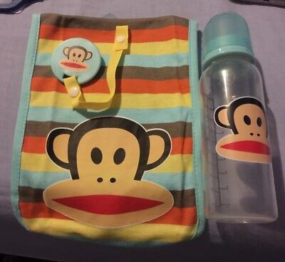 Paul Frank Baby Bottle , Burp Cloth & Dummy Clip New Unboxed