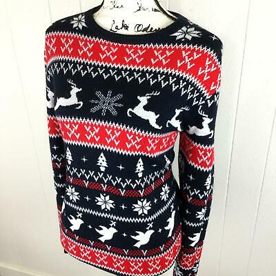 YOU LOOK UGLY TODAY Crewneck Fair Isle Red & Black Knit Sweater Women's Size XS