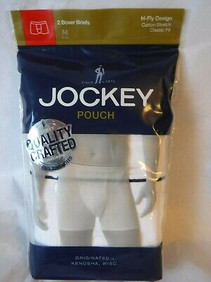 Jockey Mens Pouch 2 Boxer Briefs H Fly Design White 1146 Classic Fit