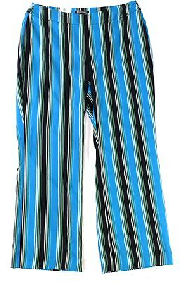 INC Women's Pants Blue Black Size 16W Plus Stretch Striped Wide Leg $89 #194