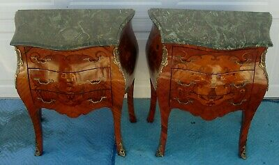 Pair Of French Louis Xv Style Painted Green Marble Top Side Tables / Night Stand