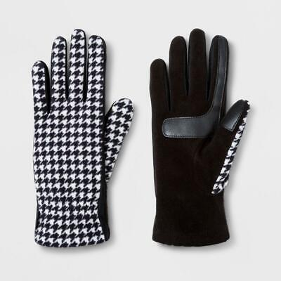 Isotoner Women's SmartDRI Houndstooth Fleece with Gathered & Smart Touch Gloves
