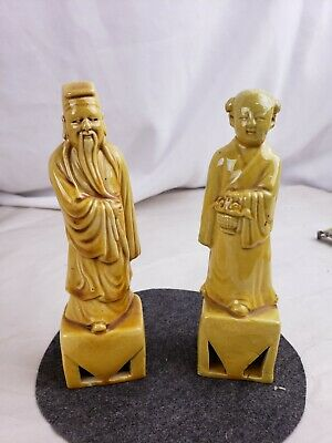 Group of 2 old monochrome chinese glazed pottery figurines, part of collection