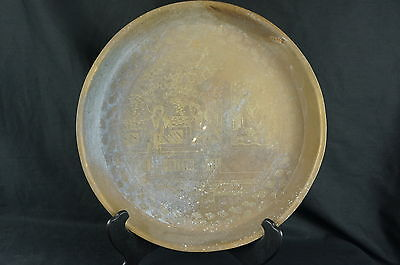 """Good Antique Chinese hand etched heavy Brass Tray ca. 1900 14"""""""