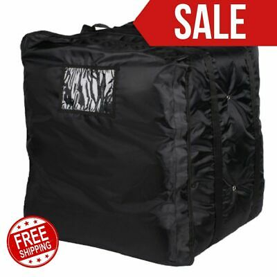 "Insulated Pizza Delivery Bag Black Soft Sided Heavy Duty Nylon 20"" x 20"" Kitchen"