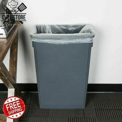 23 Gallons Gray Slim Trash Can Rectangle Heavy Duty Plastic Stackable Durable