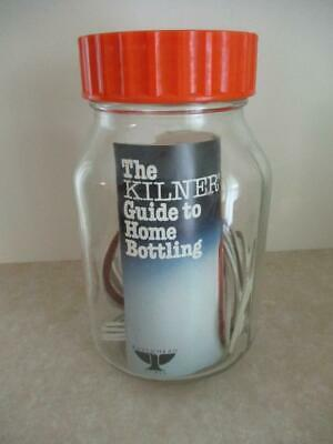 Vintage RETRO Ravenhead KILNER Glass Jar with Rings & Bottling Guide Orange Lid