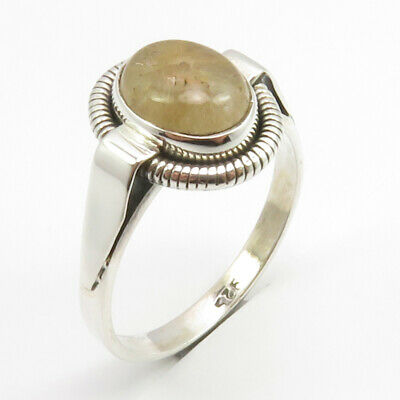 Oval Golden Rutile Ancient Style Ring Size 9.5 925 Stamped Fine Silver Art Gift
