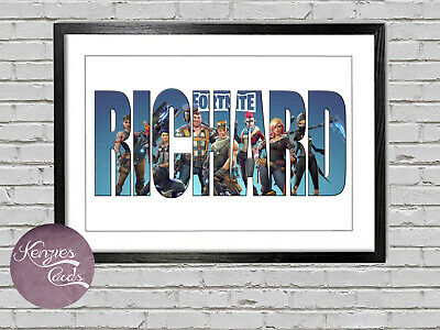 Personalised Fortnite Name Bedroom Wall Print Artwork FK5