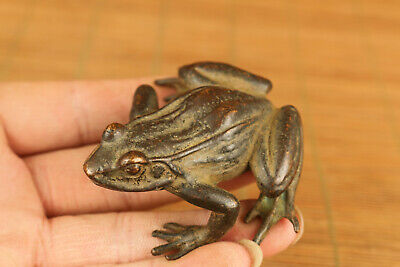chinese big bronze hand casting lovely frog statue figure collectable