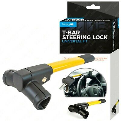 Simply Yellow T-Bar Steering Wheel Locking Mechanism Anti-Theft Universal Fit