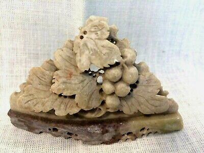 """Antique Chinese Soapstone Carving Bonsai Cherry Tree 4 1/2"""" w x 2 3/4"""" T ExcACnd"""