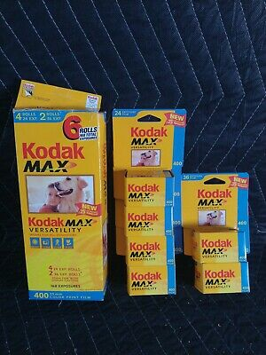 6 Rolls BRAND NEW Kodak 400 35mm Color Print Film Max 168 Exposures Expired 2003