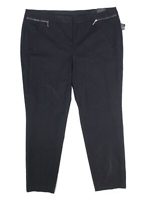 Alfani Womens Dress Pants Deep Black Size 16W Plus Slim-Leg Stretch $79- 233
