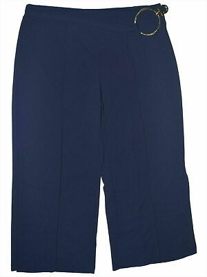 NY Collection Women's Dress Pants Blue Size 3XP Plus Belted Stretch $54 #367