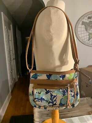 Rosetti Blue Teal Floral Purse w/Double Handles, Front Pockets