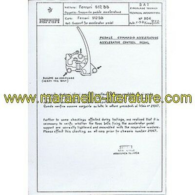 1977 Ferrari technical information n°0304 BB 512 (Support for accelerator pedal)