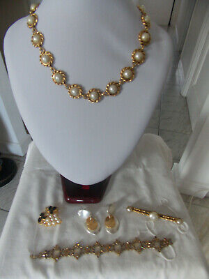 Lot Bijoux Vintage Fantaisie Collier, Bracelet, Broche, Boucles D'oreille