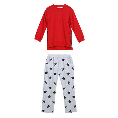 Kids Children Girls Printed Long Sleeve Tops Stars Pants Trousers Outfit