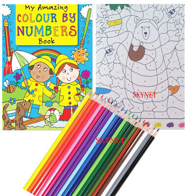 Childrens Kids Colour By Numbers Colouring Book Boys Girls 60 Pages
