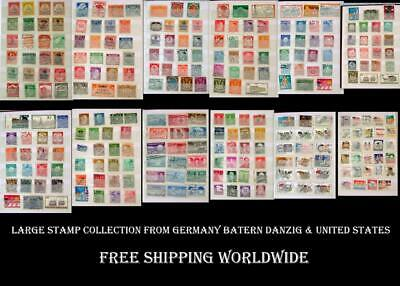 Large Stamp Collection From Germany Bayern Danzig & United States, Free Postage