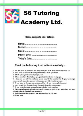 11+ Plus S6 Maths Mock Exam Tests - 7 Complete Test Papers with Answers Download