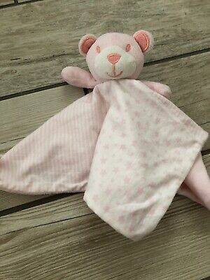 Baby Girls Matalan Stars And Stripes Pink Teddy Bear Comforter Blankie