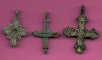 Lot of 3 Russia Bronze Ortodox Cross ca 1050 11-12th Viking Byzantine 669